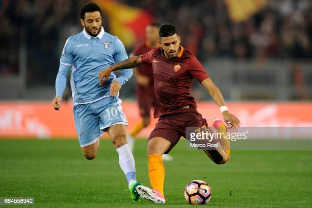 Felipe Anderson of SS Lazio battles with Emerson Palmieri of AS Roma during the TIM Cup match between AS Roma and SS Lazio at Stadio Olimpico on...