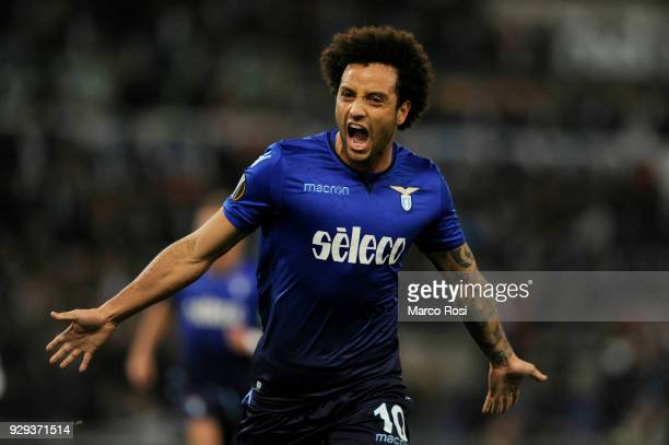 Felipe Anderson of SS Lazio celebrate a second goal during UEFA Europa League Round of 16 match between Lazio and Dynamo Kiev at the Stadio Olimpico...