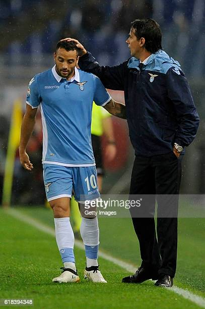 Felipe Anderson of SS Lazio celebrates a goal with head coach Simone Inzaghi during the Serie A match between SS Lazio and Cagliari Calcio at Stadio...