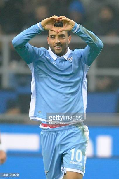 Felipe Anderson of SS Lazio celebrates a opening goal during the TIM Cup match between FC Internazionale and SS Lazio at Stadio Giuseppe Meazza on...
