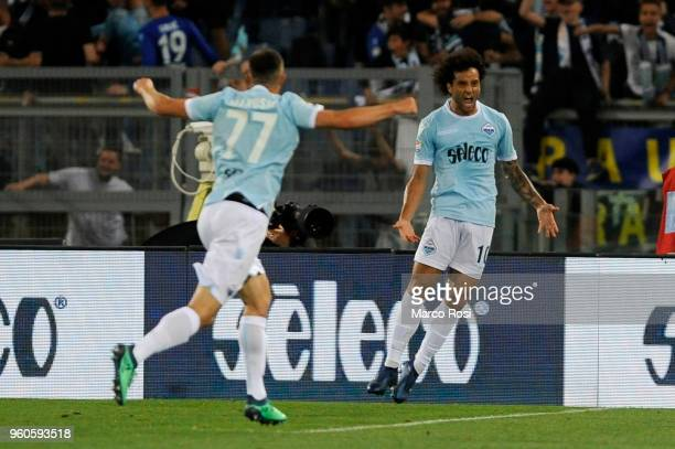 Felipe Anderson of SS Lazio celebrates a second goal during the serie A match between SS Lazio and FC Internazionale at Stadio Olimpico on May 20...