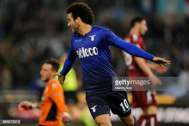 Felipe Anderson of SS Lazio celebrates a second goal during the TIM Cup match between SS Lazio and Cittadella on December 14 2017 in Rome Italy
