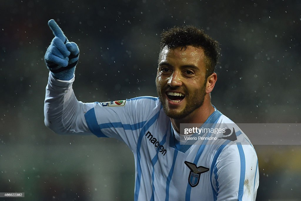 Felipe Anderson of SS Lazio celebrates after scoring his second goal during the Serie A match between Torino FC and SS Lazio at Stadio Olimpico di Torino on March 16, 2015 in Turin, Italy.