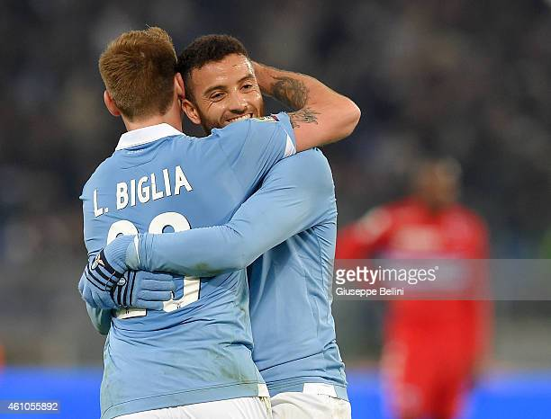 Felipe Anderson of SS Lazio celebrates after scoring the goal 20 during the Serie A match between SS Lazio and UC Sampdoria at Stadio Olimpico on...