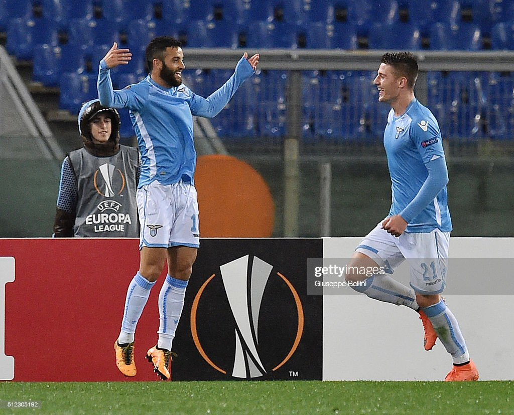 Felipe Anderson (L) of SS Lazio celebrates after scoring the goal 2-0 during the UEFA Europa League Round of 32 second leg match between SS Lazio and Galatasaray AS on February 25, 2016 in Rome, Italy.