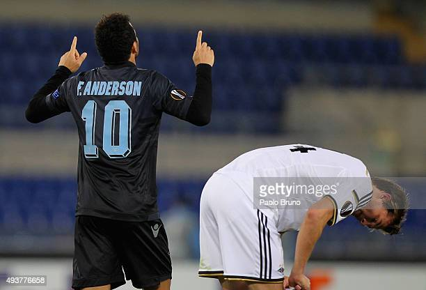 Felipe Anderson of SS Lazio celebrates after scoring the team's second goal during the UEFA Europa League group G match between SS Lazio and...