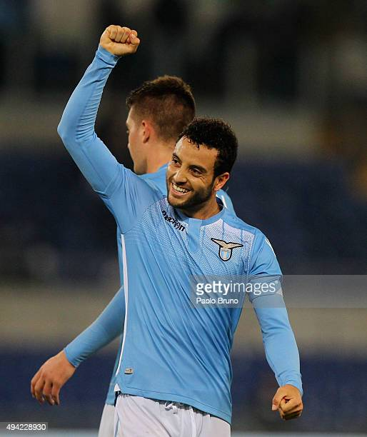 Felipe Anderson of SS Lazio celebrates after scoring the team's third goal during the Serie A match between SsS Lazio and Torino FC at Stadio...