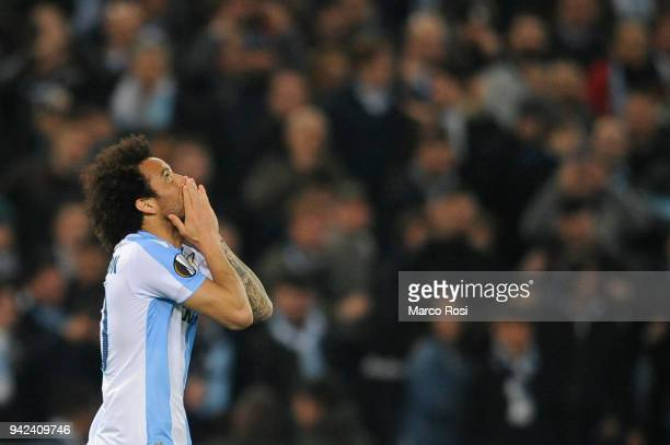 Felipe Anderson of SS lazio celebrates athird goal during the UEFA Europa League quarter final leg one match between Lazio Roma and RB Salzburg at...