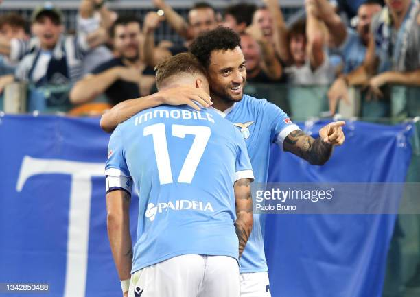 Felipe Anderson of SS Lazio celebrates with Ciro Immobile after scoring their side's third goal during the Serie A match between SS Lazio and AS Roma...