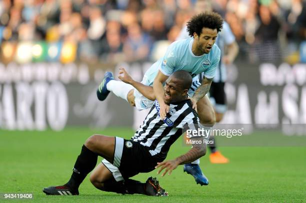Felipe Anderson of SS Lazio compete for the ball with and Santos Samir of Udinese Calcio tduring he serie A match between Udinese Calcio and SS Lazio...