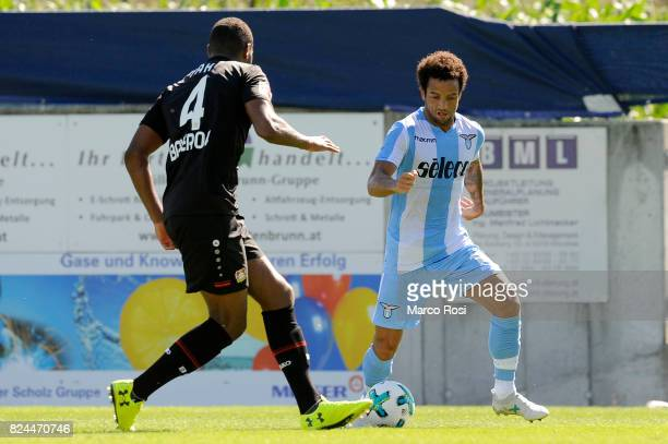 Felipe Anderson of SS Lazio compete for the ball with Jonathan Tah of Bayer Leverkusen during the preseason friendly match between SS Lazio and Bayer...