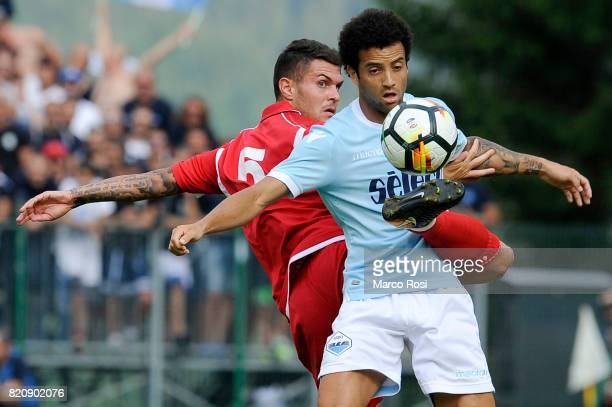 Felipe Anderson of SS Lazio competes for the ball with Francesco Viviani of Spal during the preseason friendly match between SS Lazio and SPAL on...