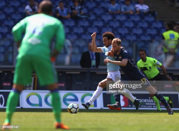 Felipe Anderson of SS Lazio competes for the ball with Ivan Strinic of UC Sampdoria during the serie A match between SS Lazio and UC Sampdoria at...