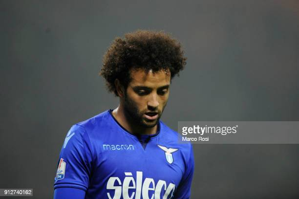 Felipe Anderson of SS Lazio during the TIM Cup match between AC Milan and SS Lazio at Stadio Giuseppe Meazza on January 31 2018 in Milan Italy