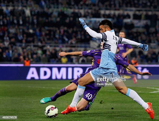 Felipe Anderson of SS Lazio in action during the Serie A match between SS Lazio and ACF Fiorentina at Stadio Olimpico on March 9 2015 in Rome Italy