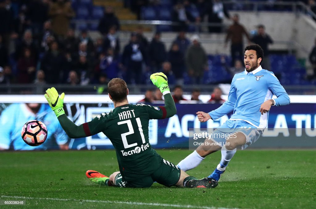 Felipe Anderson of SS Lazio scores his side's third goal past Joe Hart of FC Torino during the Serie A match between SS Lazio and FC Torino at Stadio Olimpico on March 13, 2017 in Rome, Italy.
