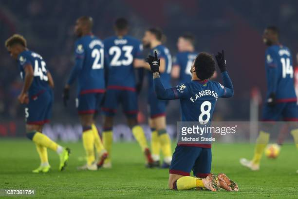 Felipe Anderson of West Ham United after scoring his second goal during the Premier League match between Southampton FC and West Ham United at St...