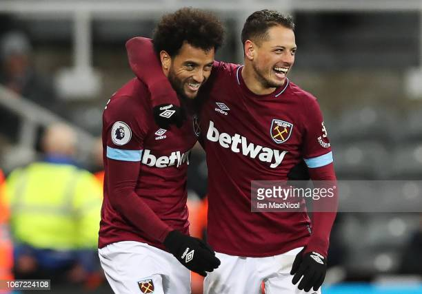 Felipe Anderson of West Ham United celebrates after he scores his sides third goal during the Premier League match between Newcastle United and West...