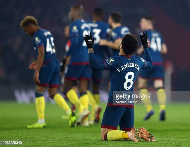 Felipe Anderson of West Ham United celebrates after he scores his sides first goal during the Premier League match between Southampton FC and West...