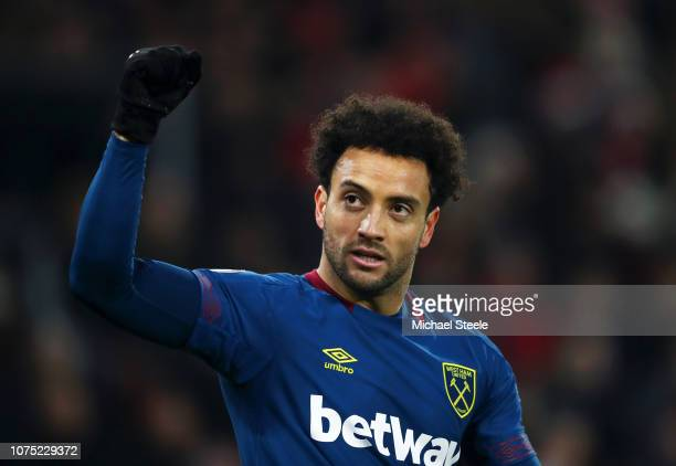 Felipe Anderson of West Ham United celebrates after he scores his sides second goal during the Premier League match between Southampton FC and West...