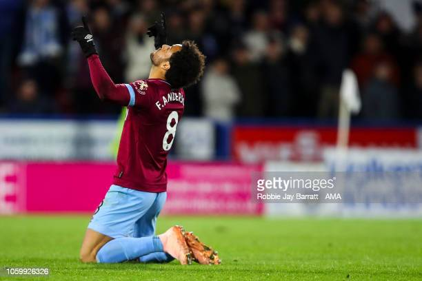 Felipe Anderson of West Ham United celebrates after scoring a goal to make it 11 during the Premier League match between Huddersfield Town and West...