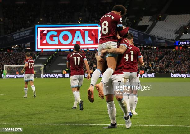 Felipe Anderson of West Ham United celebrates after scoring his team's second goal with Marko Arnautovic of West Ham United during the Premier League...
