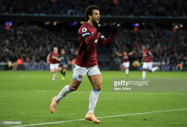 Felipe Anderson of West Ham United celebrates after scoring his team's second goal during the Premier League match between West Ham United and...
