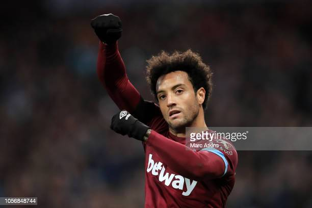 Felipe Anderson of West Ham United celebrates after scoring his team's third goal during the Premier League match between West Ham United and Burnley...
