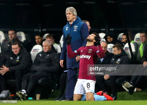 Felipe Anderson of West Ham United celebrates after scoring his team's third goal during the Premier League match between Newcastle United and West...