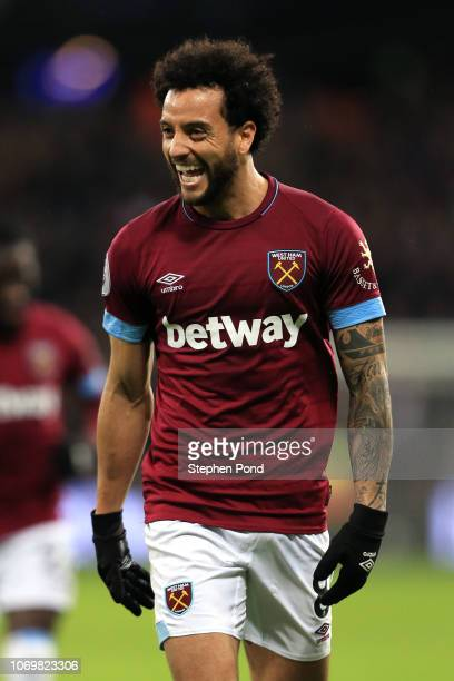 Felipe Anderson of West Ham United celebrates after scoring his team's third goal during the Premier League match between West Ham United and Crystal...