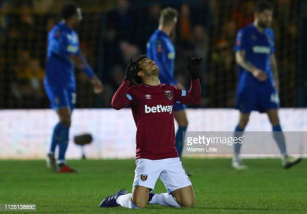 Felipe Anderson of West Ham United celebrates after scoring his team's second goal during the FA Cup Fourth Round match between AFC Wimbledon and...
