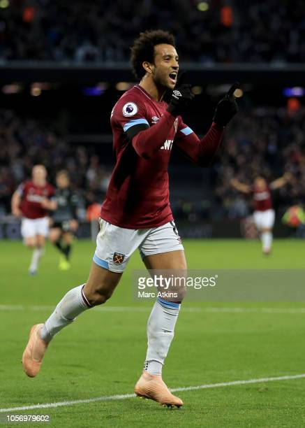 Felipe Anderson of West Ham United celebrates during the Premier League match between West Ham United and Burnley FC at London Stadium on November 3...