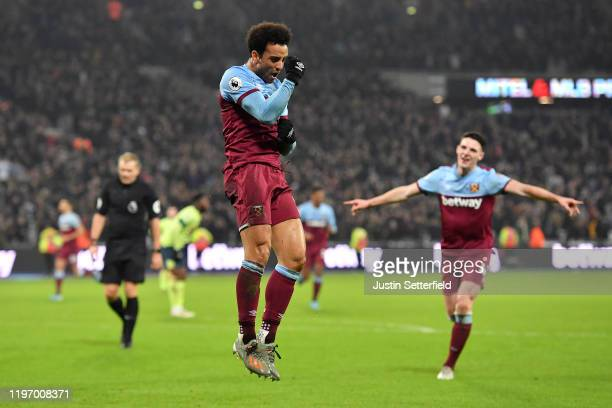 Felipe Anderson of West Ham United celebrates scoring the 4th West Ham goal during the Premier League match between West Ham United and AFC...