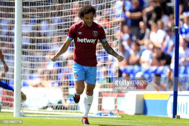 Felipe Anderson of West Ham United celebrates scoring the opening goal of the match during the preseason friendly match between Ipswich Town and West...