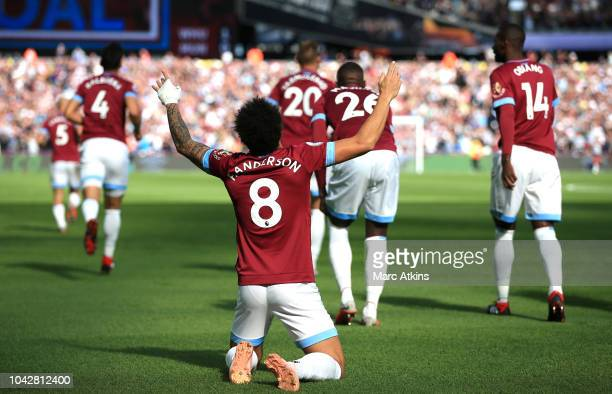 Felipe Anderson of West Ham United celebrates scoring the opening goal during the Premier League match between West Ham United and Manchester United...