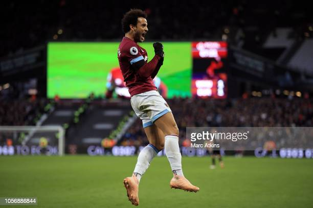 Felipe Anderson of West Ham United celebrates scoring their 2nd goal during the Premier League match between West Ham United and Burnley FC at London...