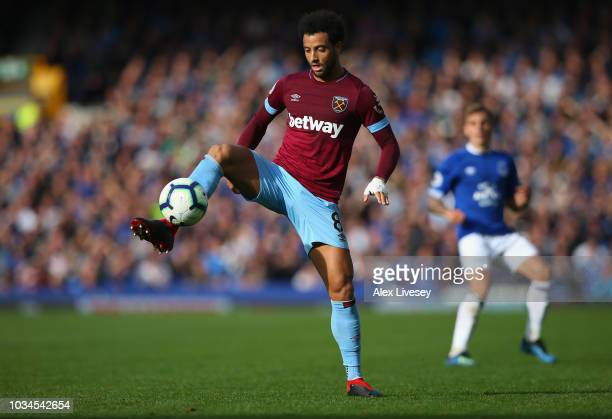 Felipe Anderson of West Ham United controls the ball during the Premier League match between Everton FC and West Ham United at Goodison Park on...