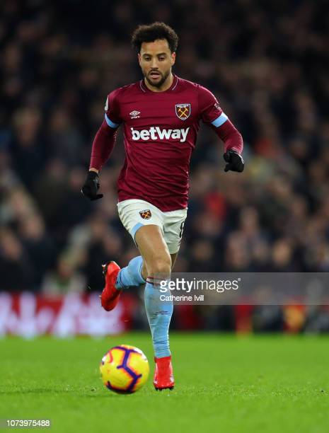 Felipe Anderson of West Ham United during the Premier League match between Fulham FC and West Ham United at Craven Cottage on December 15 2018 in...