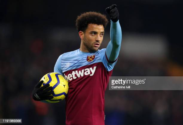Felipe Anderson of West Ham United during the Premier League match between Wolverhampton Wanderers and West Ham United at Molineux on December 04,...