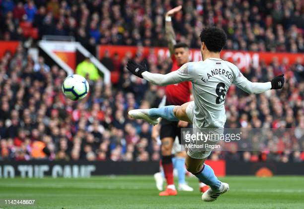 Felipe Anderson of West Ham United scores a goal but it is ruled for offside during the Premier League match between Manchester United and West Ham...