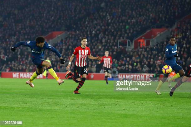 Felipe Anderson of West Ham United scores his sides second goal during the Premier League match between Southampton FC and West Ham United at St...