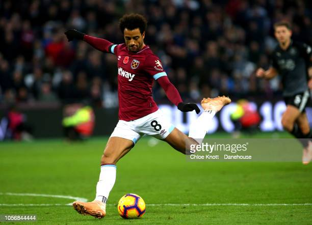 Felipe Anderson of West Ham United scores his teams second goal during the Premier League match between West Ham United and Burnley FC at London...