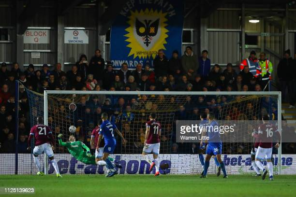Felipe Anderson of West Ham United scores his team's second goal during the FA Cup Fourth Round match between AFC Wimbledon and West Ham United at...