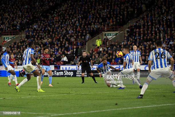 Felipe Anderson of West Ham United scores the equalising goal during the Premier League match between Huddersfield Town and West Ham United at John...