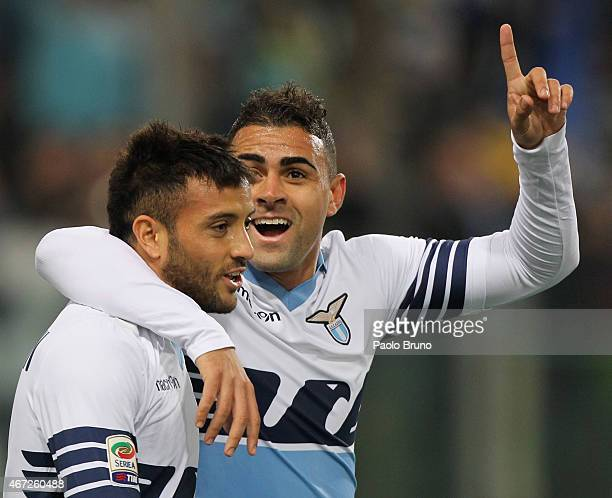 Felipe Anderson with his teammate Mauricio Nascimento Dos Santos of SS Lazio celebrates after scoring the opening goal during the Serie A match...