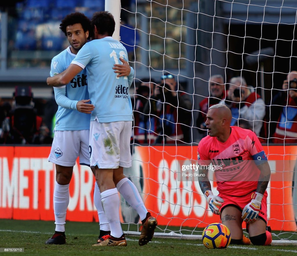 Felipe Anderson with his teammate Senad Lulic of SS Lazio celebrates after scoring the team's fourth goal during the Serie A match between SS Lazio and FC Crotone at Stadio Olimpico on December 23, 2017 in Rome, Italy.