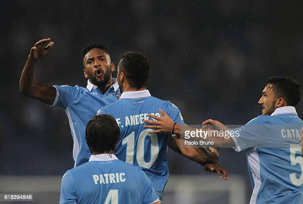 Felipe Anderson with his teammates of SS Lazio celebrates after scoring the team's fourth goal during the Serie A match between SS Lazio and Cagliari...
