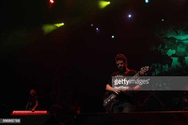 Felipe Andreoli of Angra band performs in Rio de Janeiro Brazil August 26 2016 on tour celebrating the 20th anniversary of the release of the album...