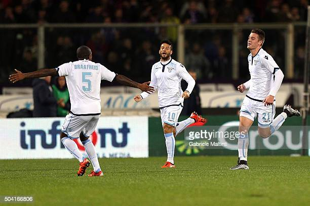Felipe Andreson of SS Lazio celebrates after scoring a goal during the Serie A match between ACF Fiorentina and SS Lazio at Stadio Artemio Franchi on...