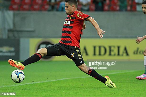 Felipe Azevedo of Sport Recife shoots at goal during the Brasileirao Series A 2014 match between Sport Recife and Palmeiras at Arena Pernambuco on...